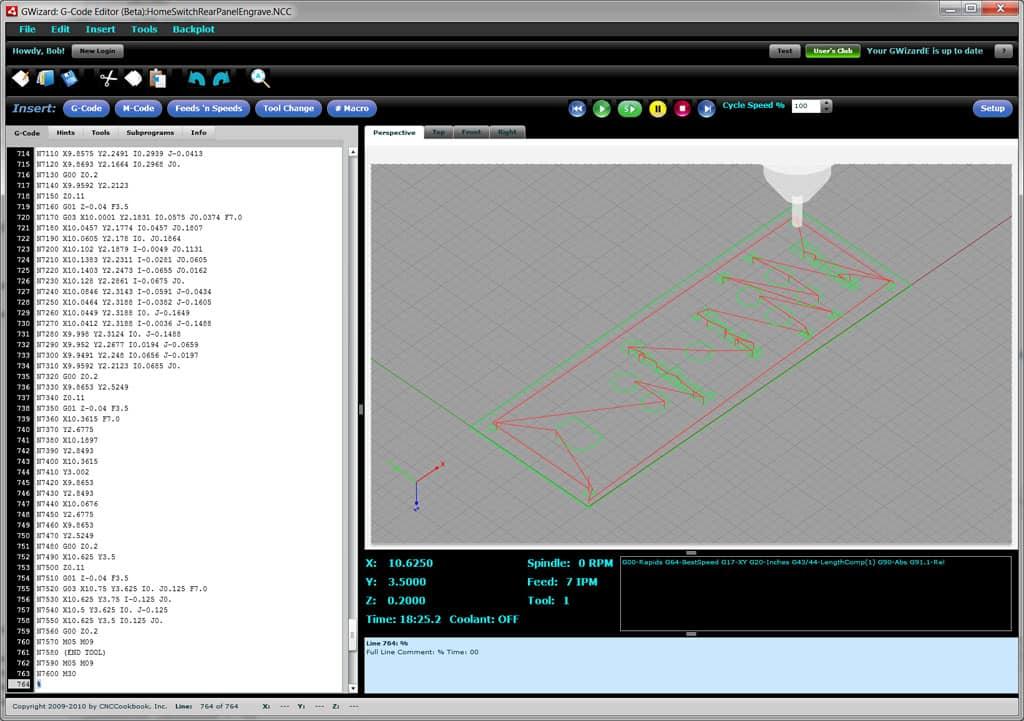GWE CNC Simulator Mode